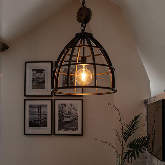 Lampe-à-suspension-ronde-industrielle-en-acier-noir-48-cm---Arthur