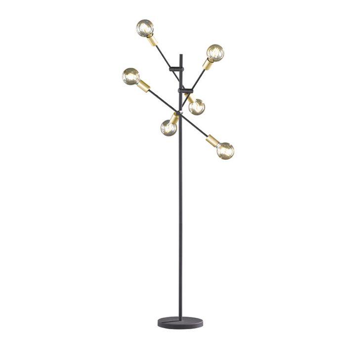 Lampadaire-industriel-noir-avec-laiton-6-lumières---Sydney