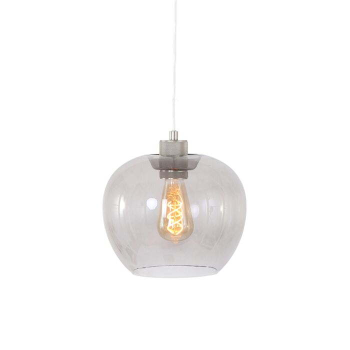 Lampe-suspension-moderne-en-acier-avec-verre---Lori