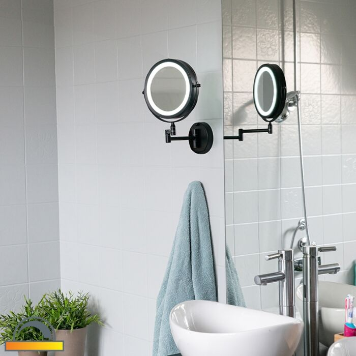 Miroir-de-salle-de-bain-design-noir-avec-LED-réglable-IP44---Vicino