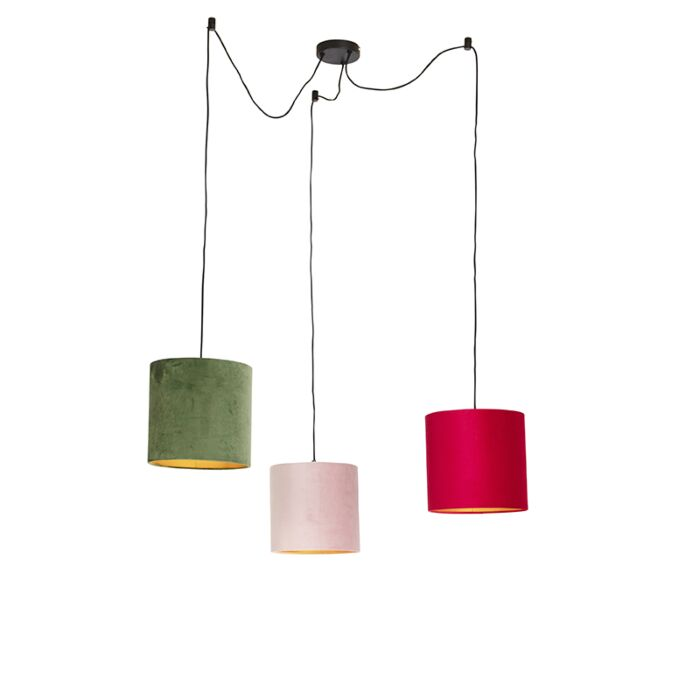 Suspension-avec-des-nuances-de-velours-de-rouge,-vert-et-rose---Cava