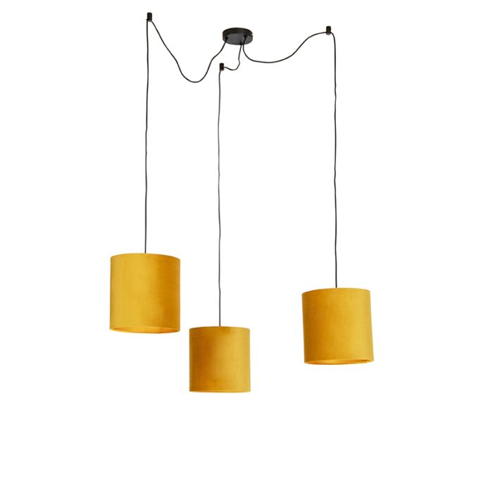 Suspension-avec-3-abat-jours-en-velours-jaune-et-doré---Cava
