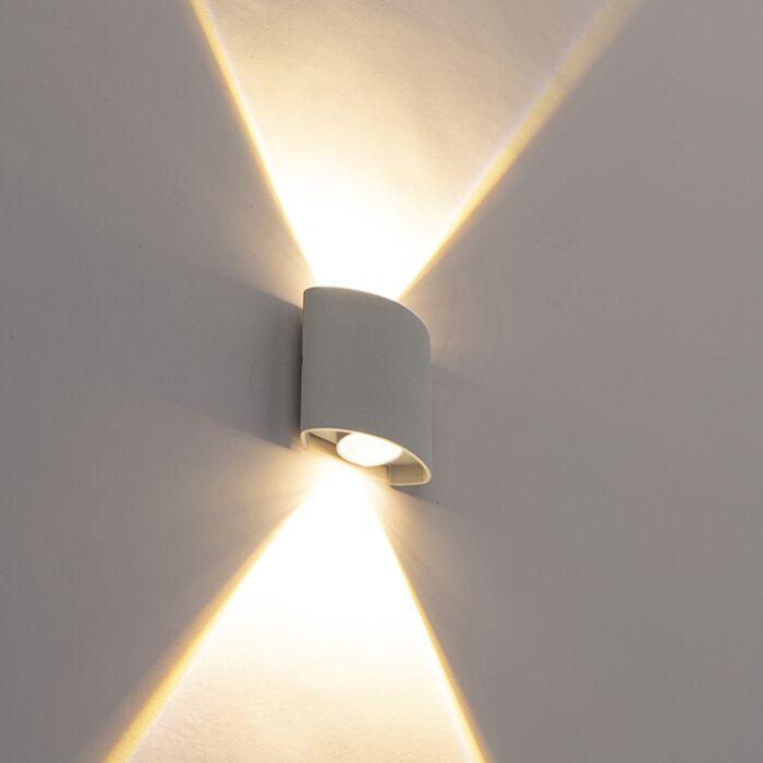 Applique-murale-exterieure-design-argentée-avec-LED-2-lumières---Silly