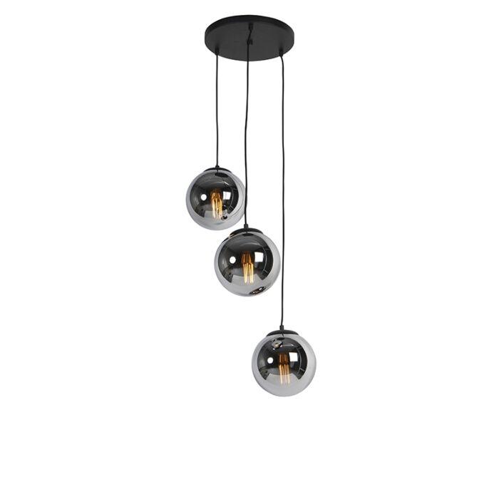 Suspension-Art-Déco-noire-avec-verre-fumé-3-lumières---Pallon
