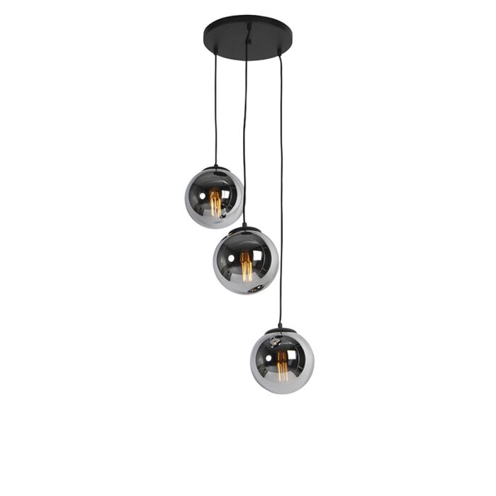 Suspension-Art-Déco-noire-avec-verre-fumé-à-3-ampoules---Pallon