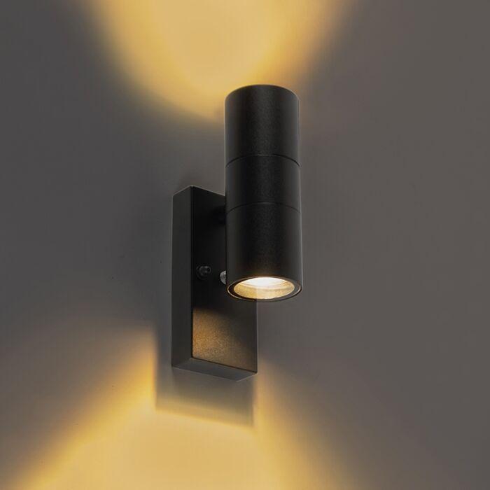 Applique-murale-d'extérieur-noir-avec-capteur-clair-foncé-IP44---Duo