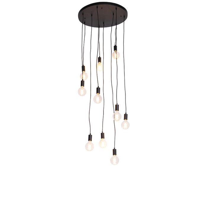 Suspension-moderne-noire-60-cm-10-lumières---Facil