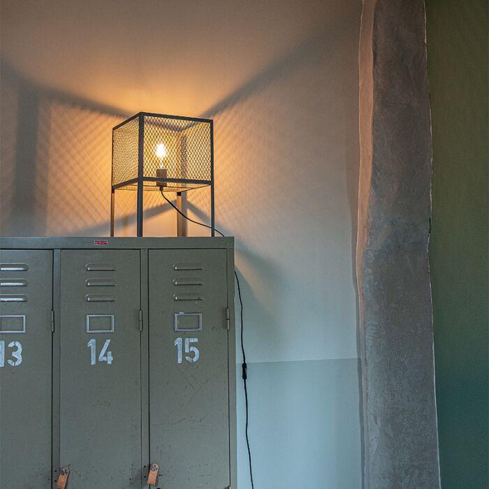 Lampe-de-table-industrielle-argent-antique---Cage-Robusto