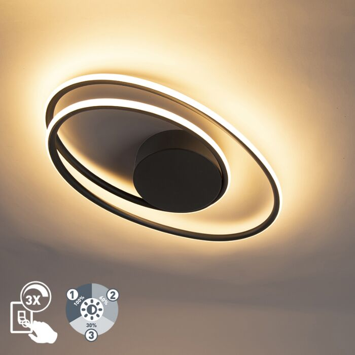 Plafonnier-design-noir-avec-LED-dimmable-en-3-étapes---Rowan