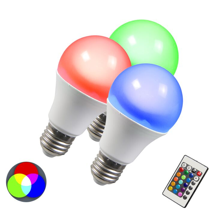 Lampe-à-LED-RGB-E27-3W-ensemble-de-3