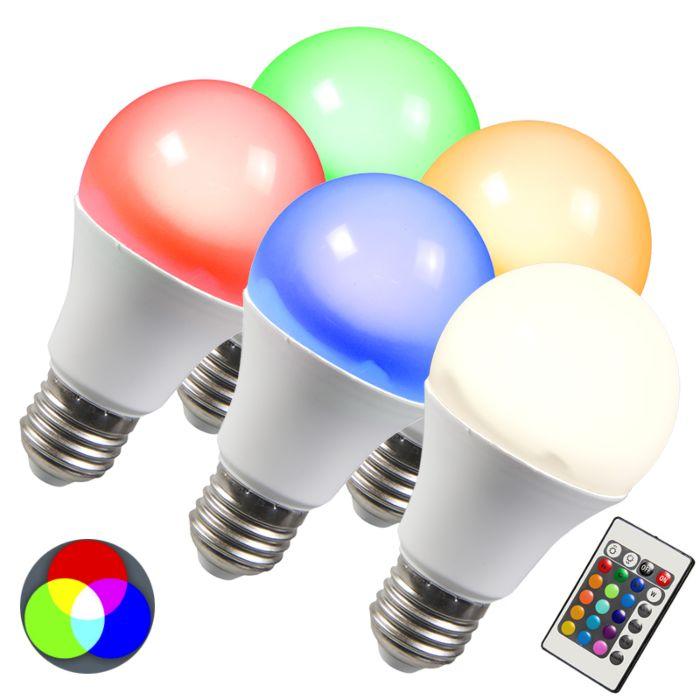 Lampe-à-LED-RGB-E27-10W-extra-blanc-chaud-set-de-5
