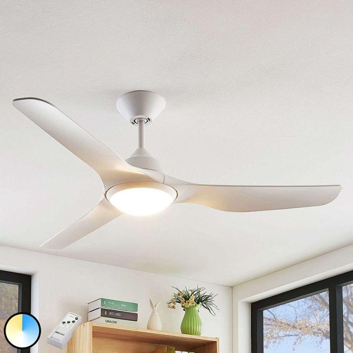 Ventilateur-de-plafond-blanc-avec-LED-et-télécommande---Pira