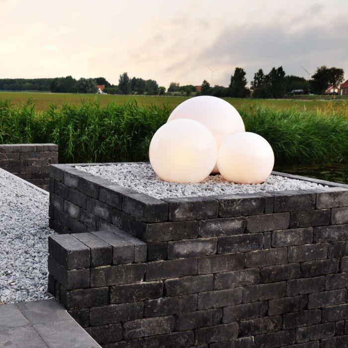 Lampe-d'extérieur-à-planter-Ball-20-Spike-blanche/noire