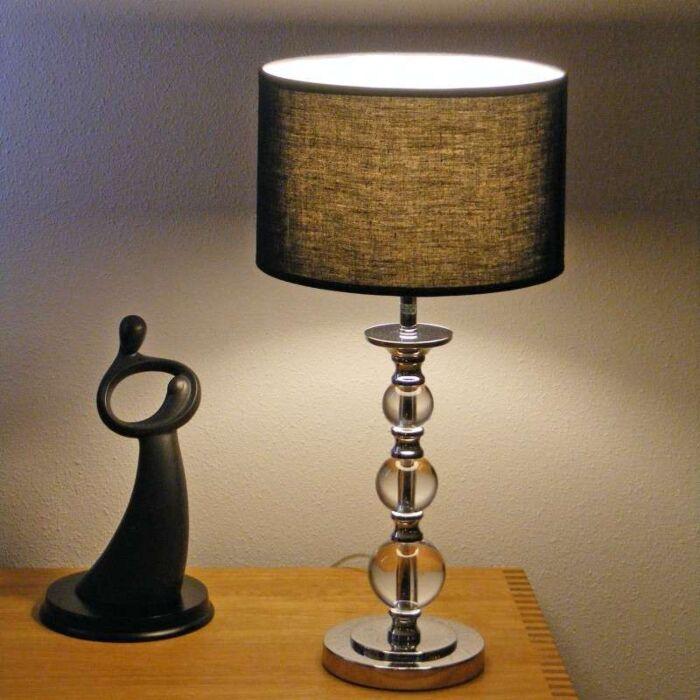 Lampe-de-table-Calabash-chrome-avec-abat-jour-noir