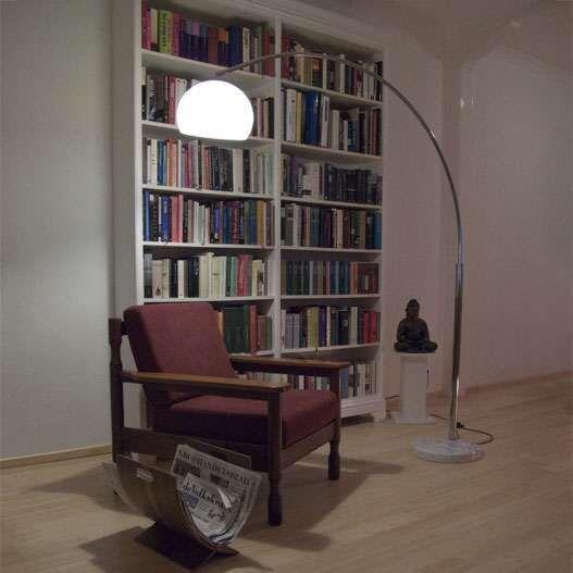 Grande-lampe-à-arc-chrome-Basic