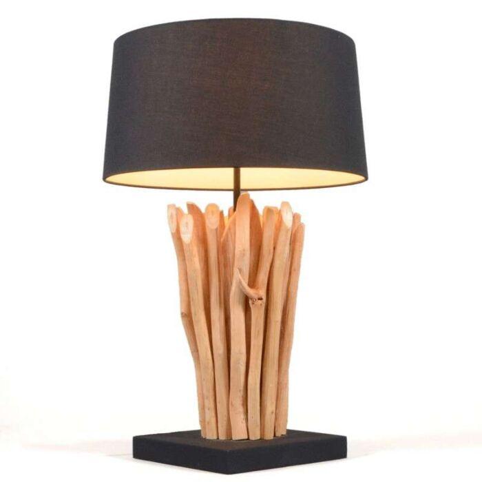 Lampe-à-poser-Phatom-naturel-avec-abat-jour-noir