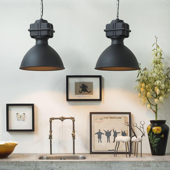 Lot-de-2-lampes-à-suspension-industrielles-petit-noir-mat---Sicko