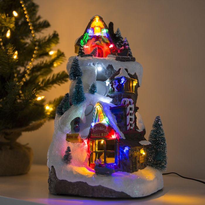Maison-de-Noël-Bobsled-LED-multicolore