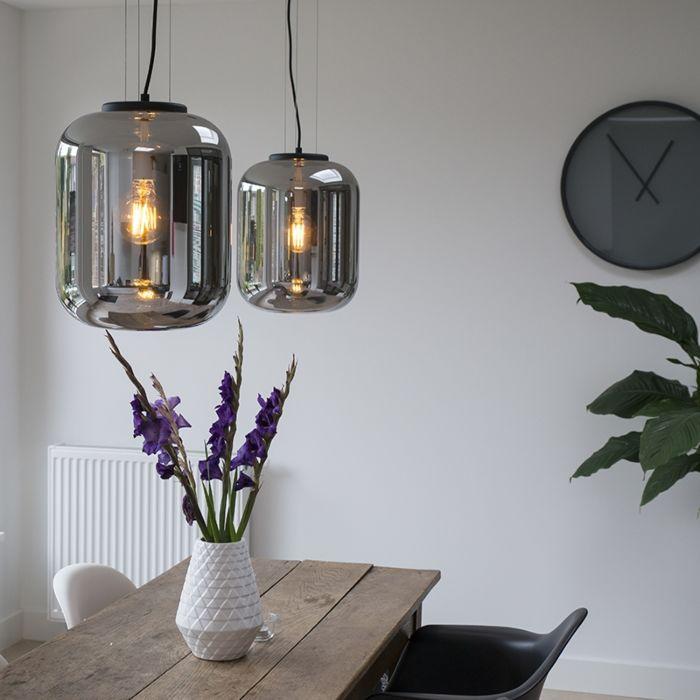 Lot-de-2-lampes-suspendues-design-noir-avec-verre-fumé---Bliss