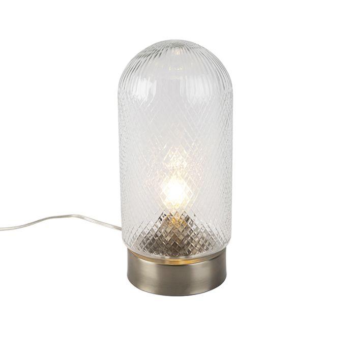 Lampe-de-table-vintage-en-verre-usiné-cylindrique-avec-acier---Bardo