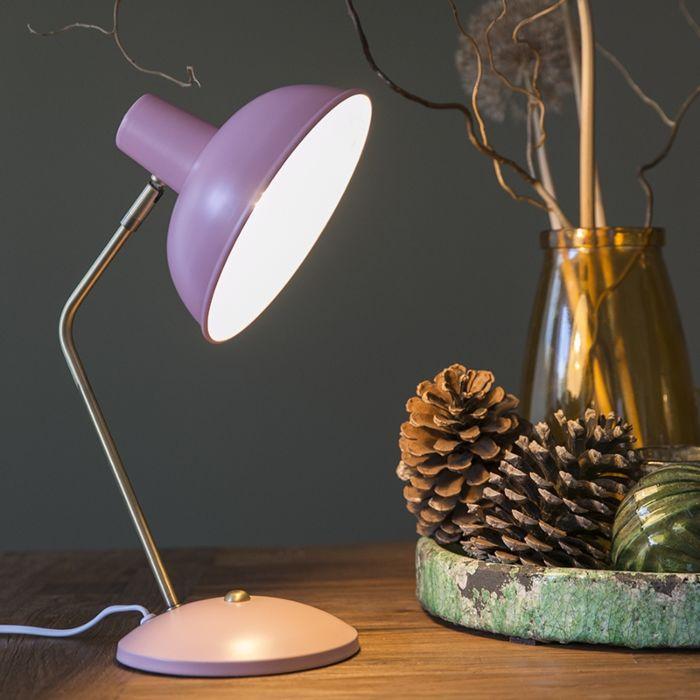 Lampe-de-table-rétro-rose-avec-bronze---Milou
