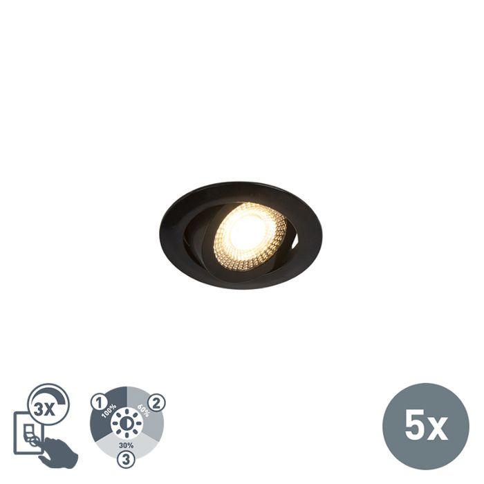 Ensemble-de-5-projecteurs-encastrés-à-LED-modernes,-noir,-réglable-en-3-étapes---Mio