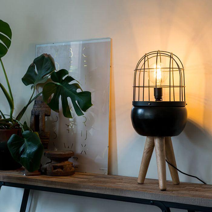 Lampe-de-table-moderne-noire-sur-trépied-en-bois---Oiseaux