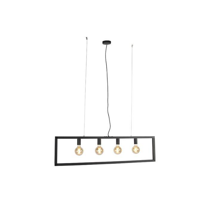 Lampe-suspension-moderne-noire-4-lumières---Simple-Cage-2