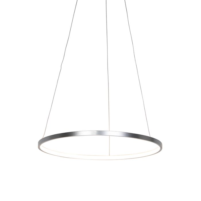 Lampe-suspendue-à-anneau-moderne-argent-60-cm-avec-LED---Anella