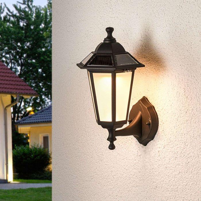 Lampe-d'extérieur-classique-noire-avec-LED-solaire---Kristin